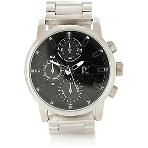 Silver tone black oversized watch