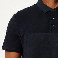 Navy ribbed panel polo shirt
