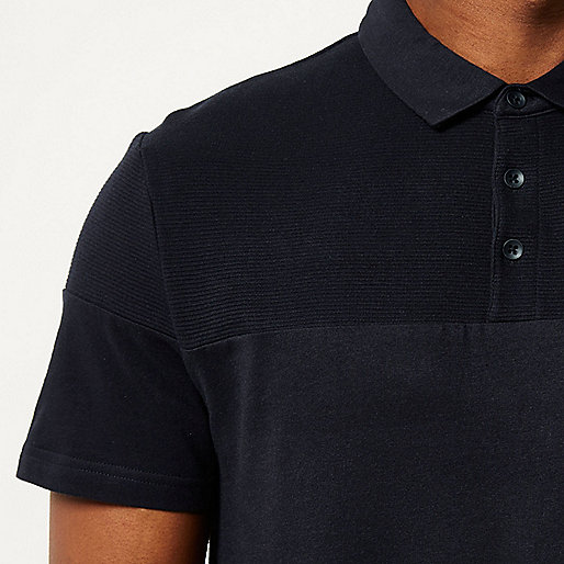 Navy ribbed panel polo shirt