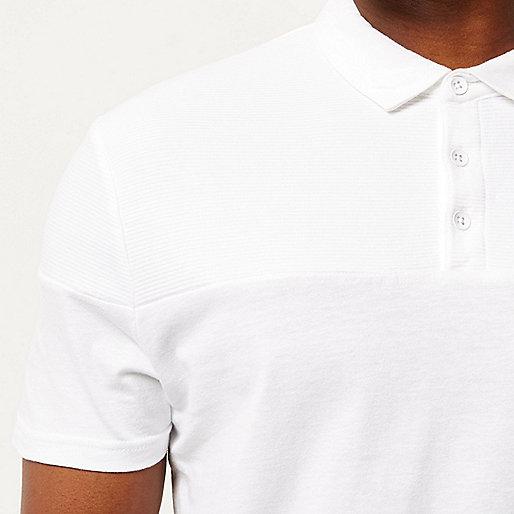 White ribbed panel polo shirt