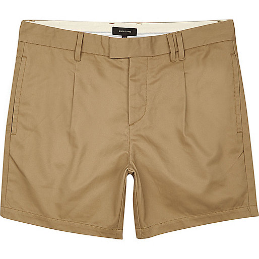 Tan pleated slim fit chino shorts
