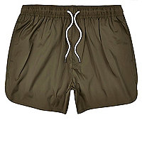 Khaki green plain swim trunks