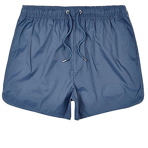Short de bain bleu uni