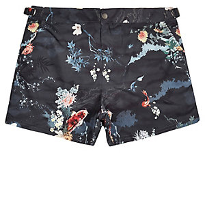 Navy printed buckle swim trunks