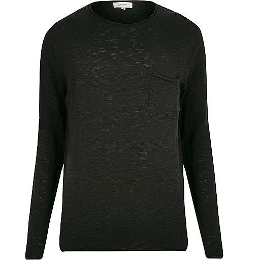 Schwarzes, langärmliges T-Shirt
