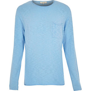 Blue crew neck top