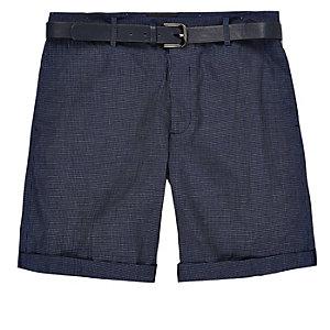 Navy slim fit belted bermuda shorts