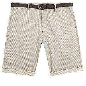 Grey stripe slim shorts