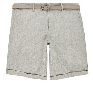 Green belted slim shorts