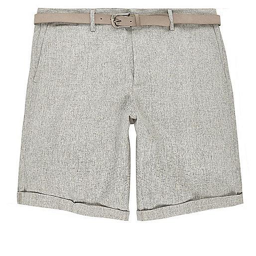 Light grey belted slim fit shorts