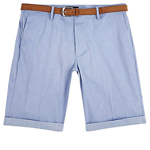 Blue belted Oxford slim shorts