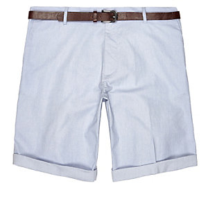 Blue Oxford belted shorts