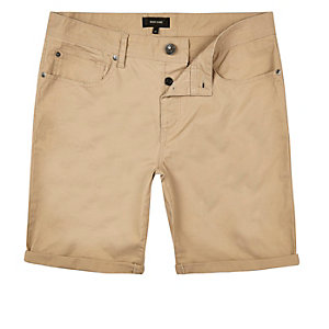 Tan brown slim turn-up shorts