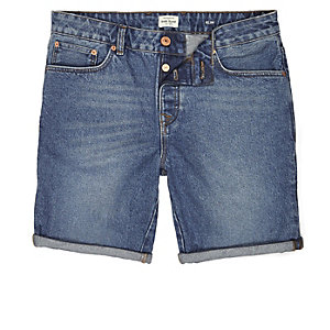 Vintage blue slim fit denim shorts