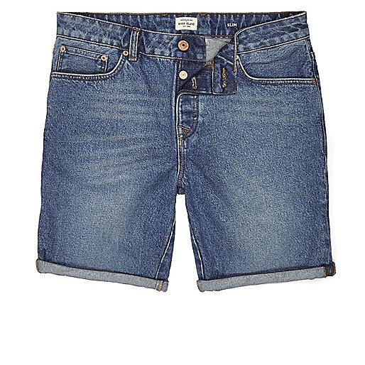 Vintage blue slim fit denim shorts