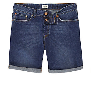 Dark blue wash slim fit denim shorts