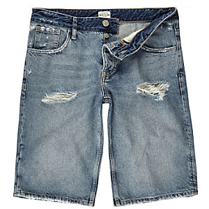 Mid blue wash wide leg denim shorts