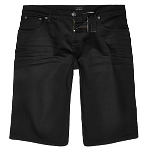 Black wide fit denim shorts