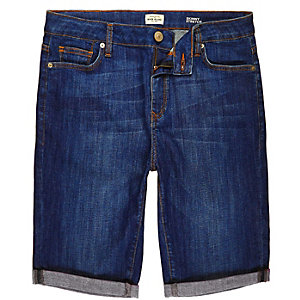Blue denim skinny stretch shorts
