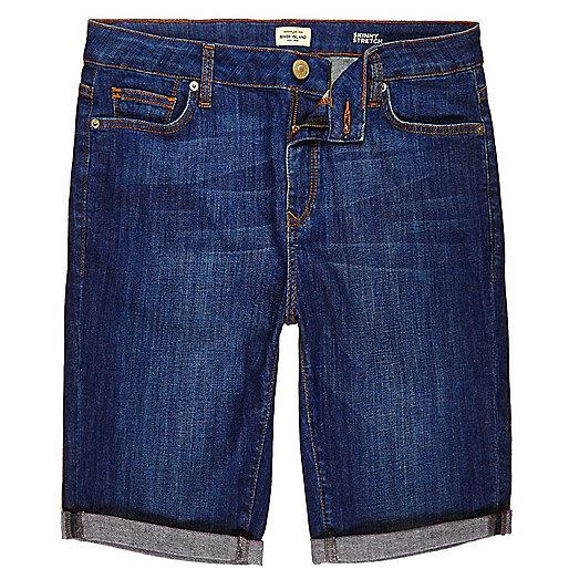 Blue skinny fit denim shorts