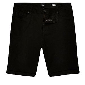 Black denim skinny stretch shorts