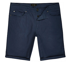 Blue skinny five pocket shorts