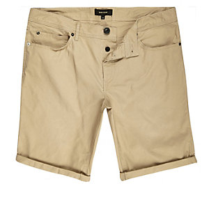 Tan brown skinny five pocket bermuda shorts