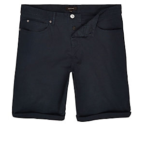Navy slim five pocket shorts