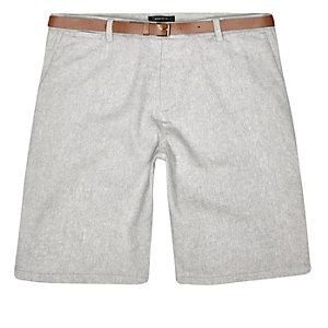 Grey slim belted  knee length shorts