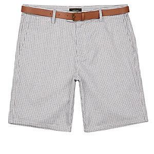 Grey slim gingham belted knee length shorts