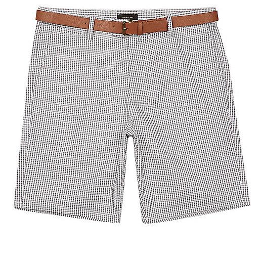 Grey gingham slim fit belted shorts