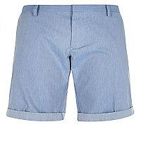 Blue slim fit belted bermuda shorts