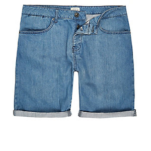 Mid blue wash slim fit denim shorts
