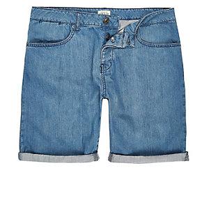 Mid blue wash slim fit denim shorts