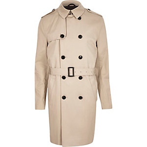 Stone long double breasted mac coat