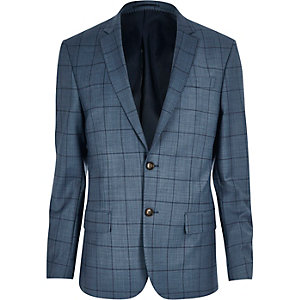 Blue check suit jacket