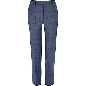 Blue checked slim suit pants