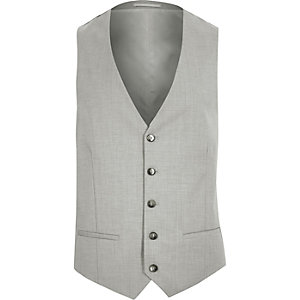 Grey slim suit vest