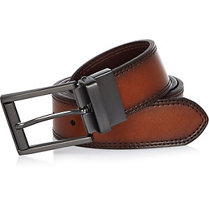 Brown reversible stitched edge belt