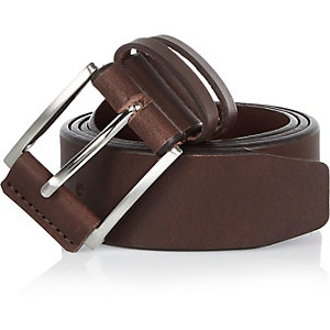 Brown leather double keeper belt