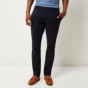 Pantalon chino bleu marine stretch coupe slim