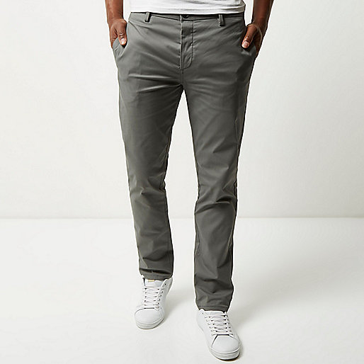 Grey stretch slim chino pants