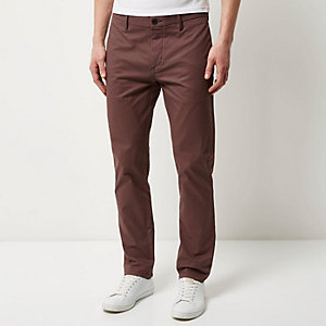 Purple stretch slim chino pants