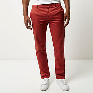 Rust stretch slim chino pants