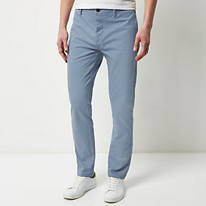 Light blue stretch slim chino trousers