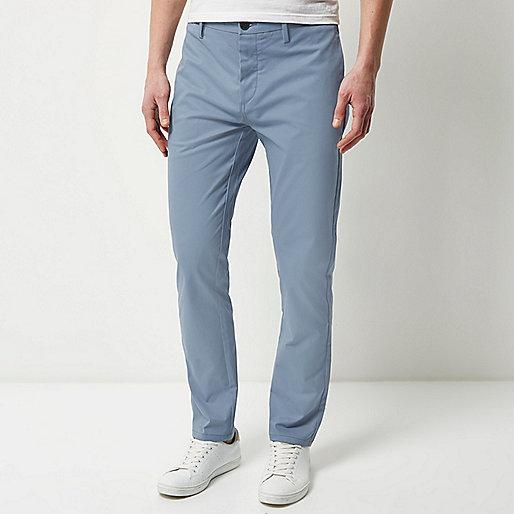 Light blue stretch slim chino pants