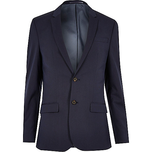 Dark blue skinny fit suit jacket