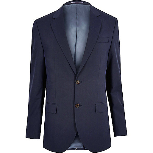 Dark blue tailored suit jacket