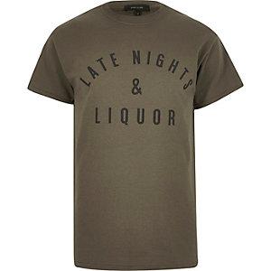Grey late nights slogan print t-shirt