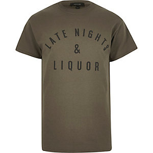 Grey late nights slogan print t-shirt